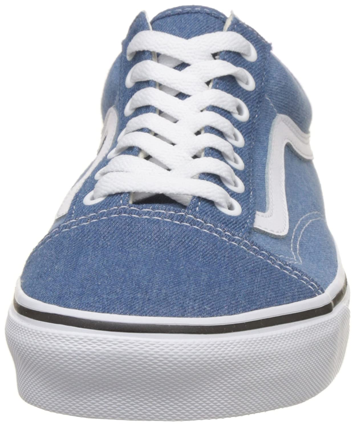 Vans Unisex Old Skool Classic Skate Shoes B076CVF6XG 9.5 M US Women / 8 M US Men|Denim 2 Tone Blue True White