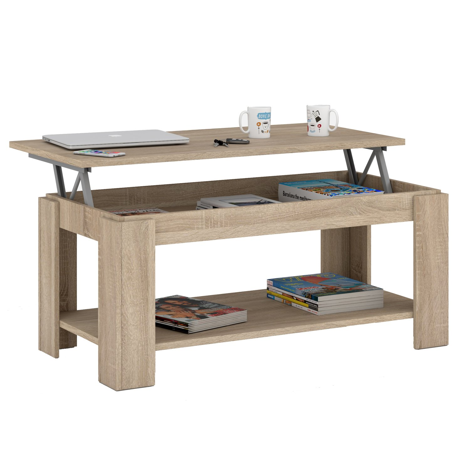 Stylish lift top coffee dining table with storage shelf canadian oak ebay - Table basse plateau relevable conforama ...
