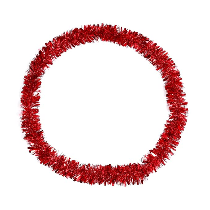 Red 4 Meters Total 2 Pieces Metallic Tinsel Garlands Glittering Tinsel Wire Garland Christmas Tree Decoration Garland Shiny Chunky Garlands Golden
