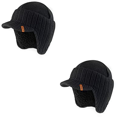 123e7045eda Scruffs Peaked Beanie Hat Twin Pack Insulated Warm Knitted Thermal Winter  Stylish Peak Cap (Black Twin)  Amazon.co.uk  Clothing
