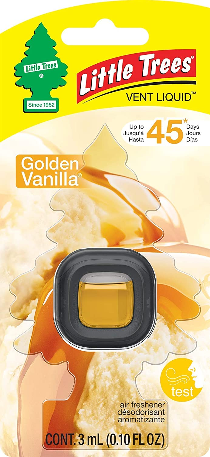 Little Trees CTK-52632 Car Air Freshener | Vent Liquid Provides Long-Lasting Scent for Auto or Home | Golden Vanilla, 4-Pack