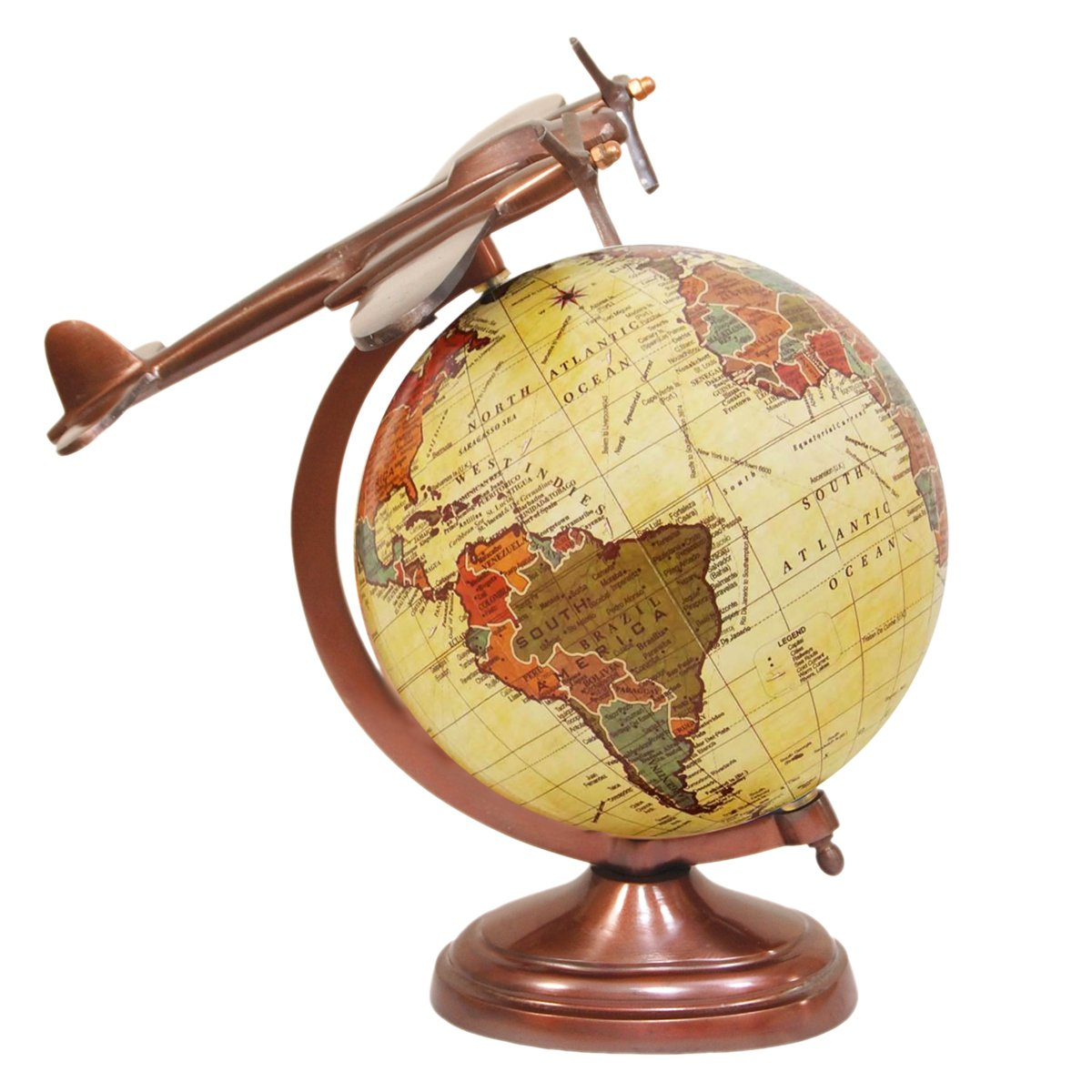 Amazon.com: Airplane Globe - Handmade Airplane Copper Metal Base Designer Antique Brown Globes - 8