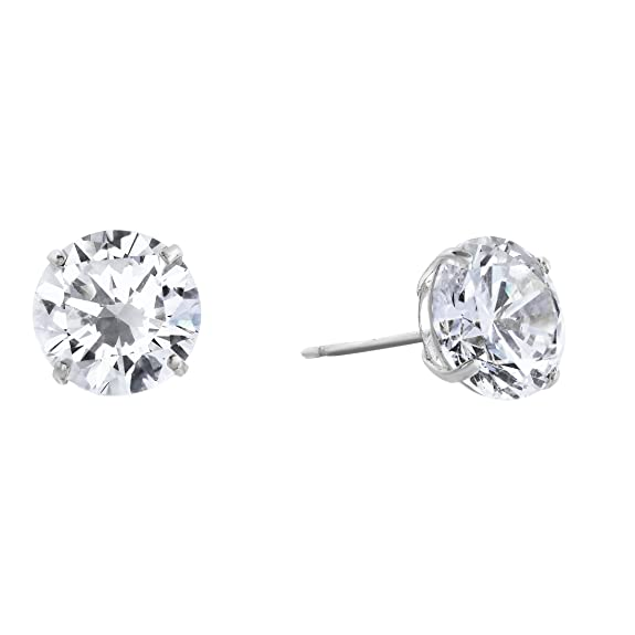 14k White Gold Solitaire Round Cubic Zirconia Stud Earrings With Gold Butterfly Pushbacks by Tilo Jewelry
