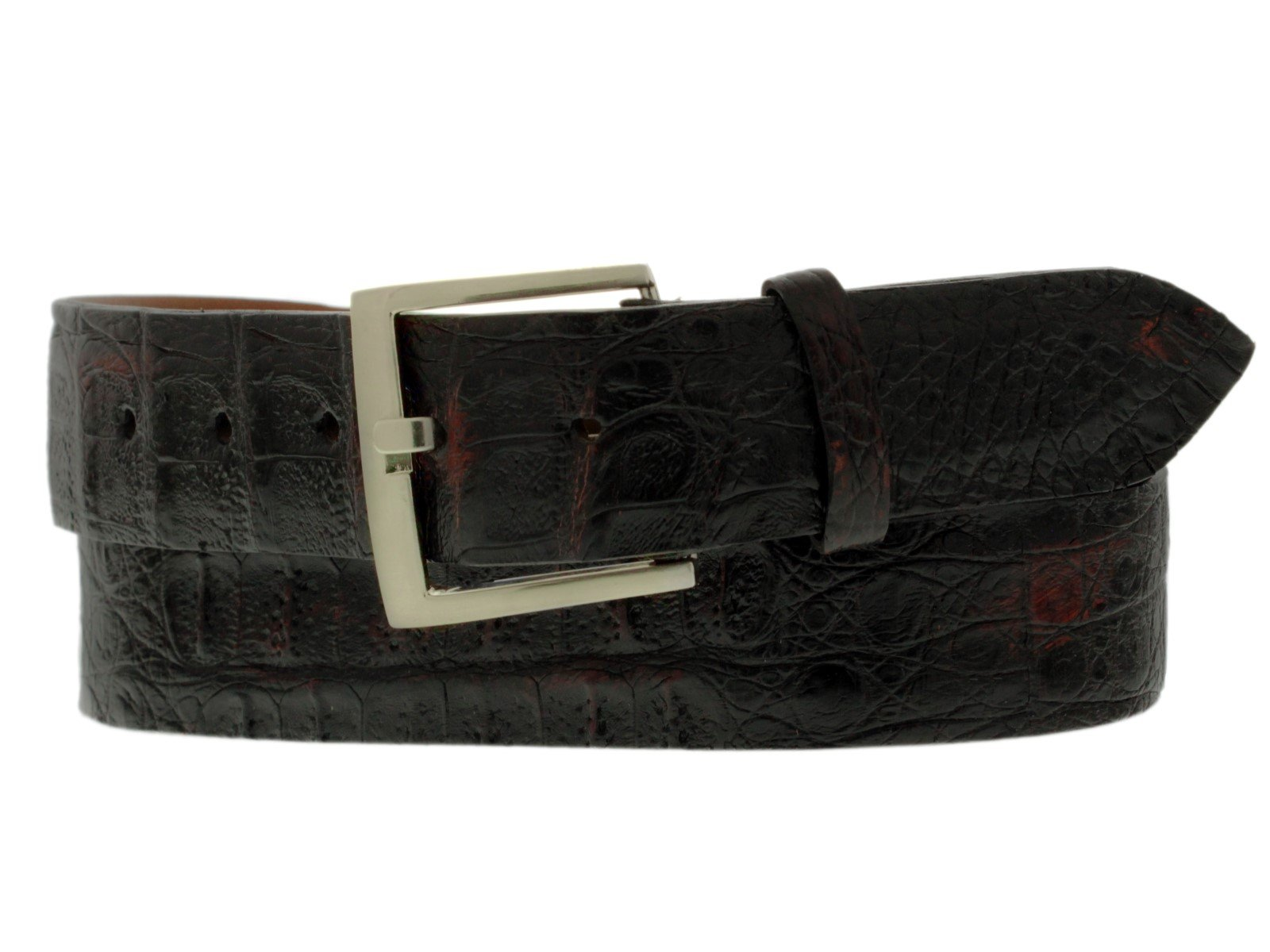 El Presidente Mens Black Cherry Genuine Crocodile Cowboy Belt Silver Buckle 36