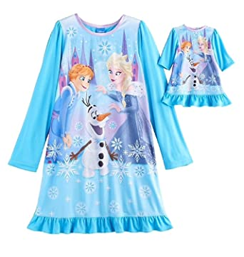 Amazon.com: Disneys Frozen Elsa, Anna & Olaf Nightgown and Doll Gown ...