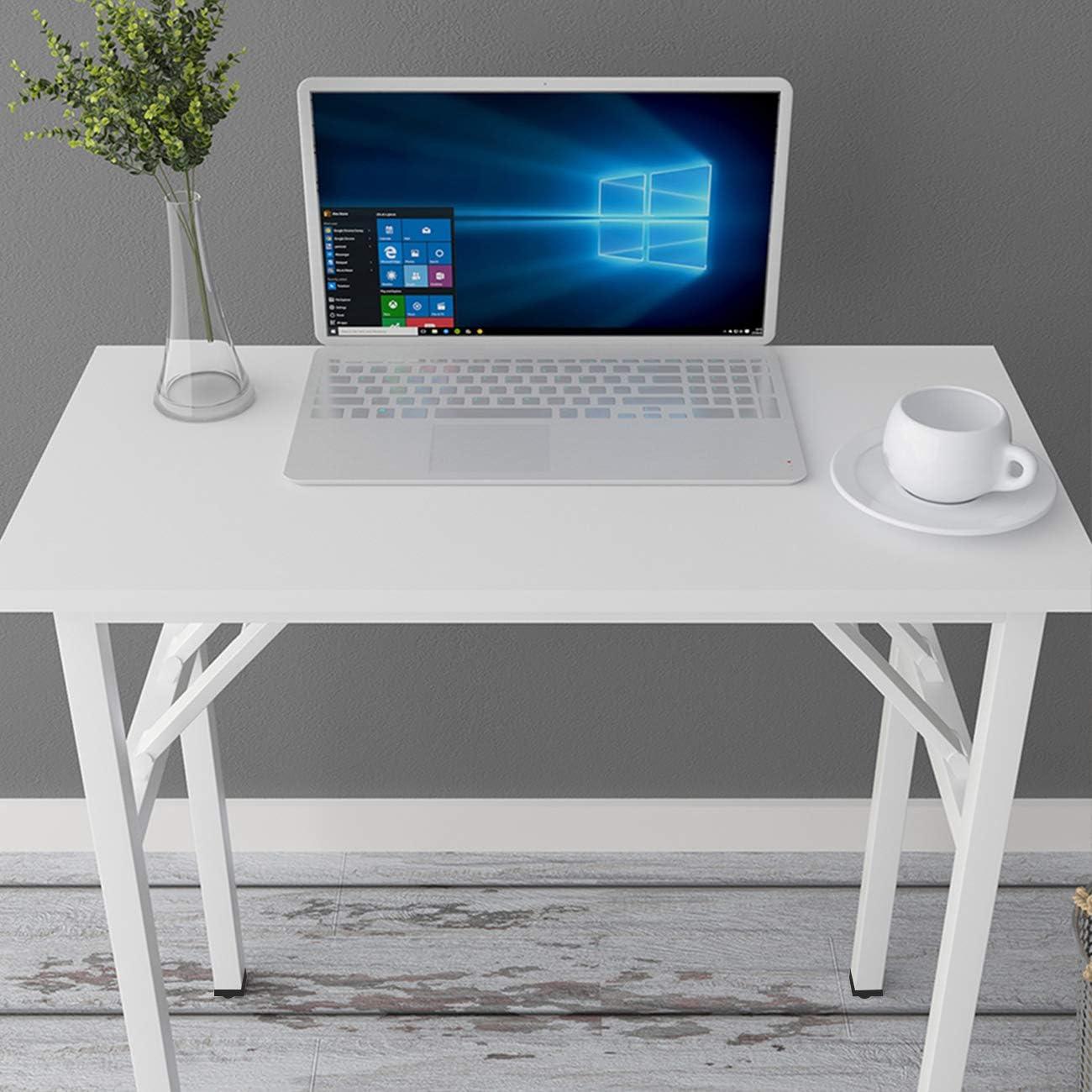scrivania per computer e postazione di lavoro Tavolino pieghevole piccolo 80 x 40 cm non necessita di installazione DlandHome tavola in legno composito gambe bianche e bianche