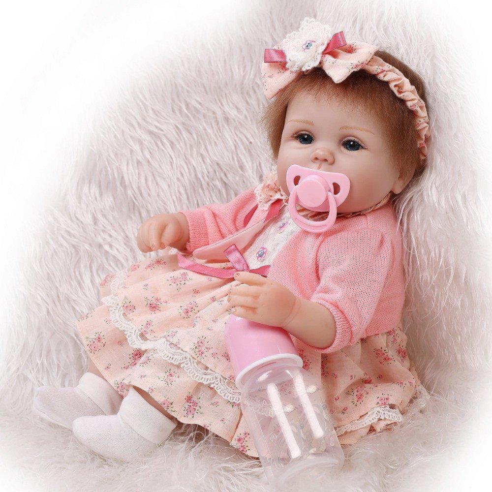 3d00f25a1 Soft Handmade 17 Inch Baby Girl Dolls Reborn Silicone Cloth Body ...