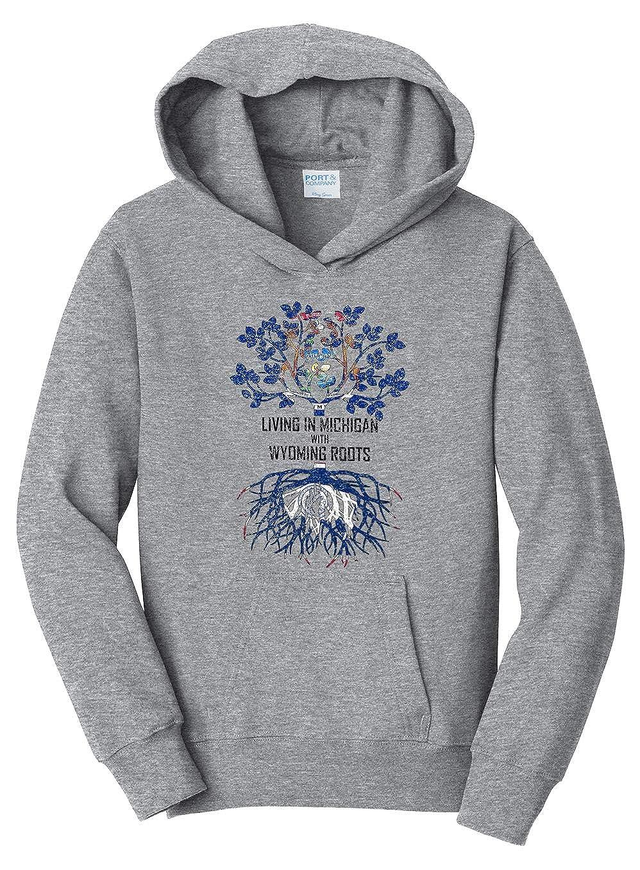 Tenacitee Girls Living in Michigan with Wyoming Roots Hooded Sweatshirt
