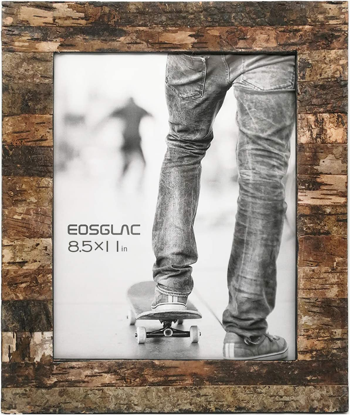 Eosglac Rustic 8.5x11 Wooden Picture Frame, Handmade with Real Birch Bark, Photo Frame Natural