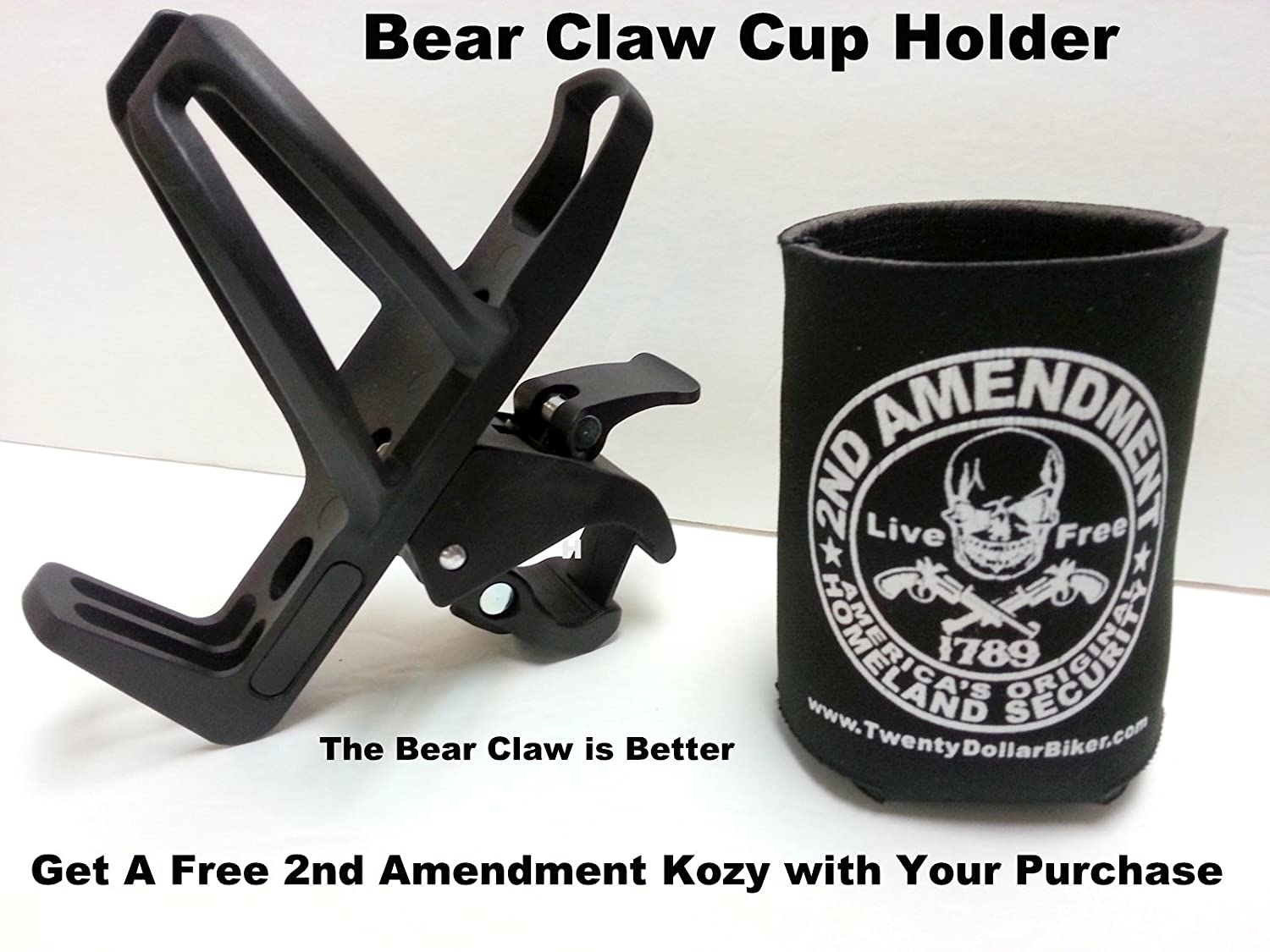 Can Am Spyder Passenger Grab Rail Drink Water Bottle Cup Holder Black on Black Off Design Bear Claw #6214CAA BC-6214CAA Easy On