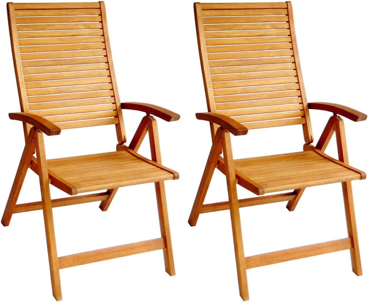 LuuNguyen 79001 Logan Outdoor Hardwood 5 Positions Reclining Folding Arm Chair, Natural Wood Finish, 2 Count