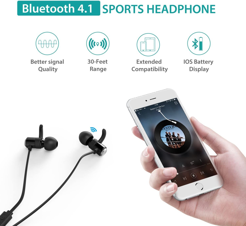 EgoIggo BD-160 Auriculares Bluetooth, auriculares inalámbricos para deportes,reducción de ruido auriculares estéreo 4.1 con conexión magnética, auriculares con microfono y anti-sudor (Negro): Amazon.es: Electrónica