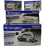 KANGARO set of 1 stapler, 2 pin box, 1 paper punch