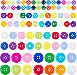 Biubee 1100 Pcs Assorted Size Mixed Color Resin Buttons- 4 Holes Round Craft Buttons for Sewing, Scrapbooking, DIY Handmade Decorations