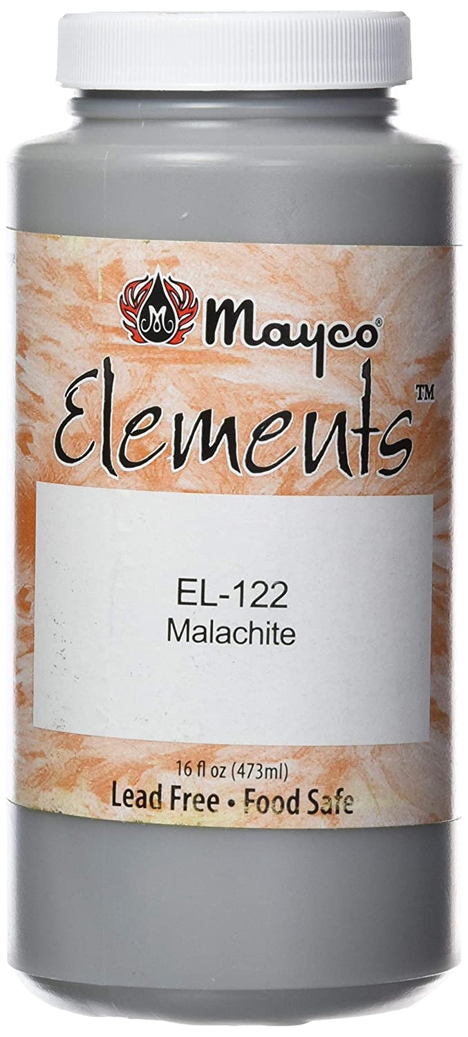 "Mayco EL122 Elements Non-Toxic Glaze, 1 pint Bottle, 2.8"" Height, 2.8"" Width, 6"" Length, Malachite Green"