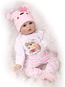 Funny House 55cm 22inch Reborn Baby Doll Realistic Real Looking Reborn Baby Dolls Lifelike Soft Silicone Vinyl Child Growth Partner Lovely Birthday Gift Xmas Present Free Magnet Xmas Present