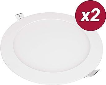 POPP- (Pack x 2 ) downlight led Placa LED redondo.12W luz calida ...