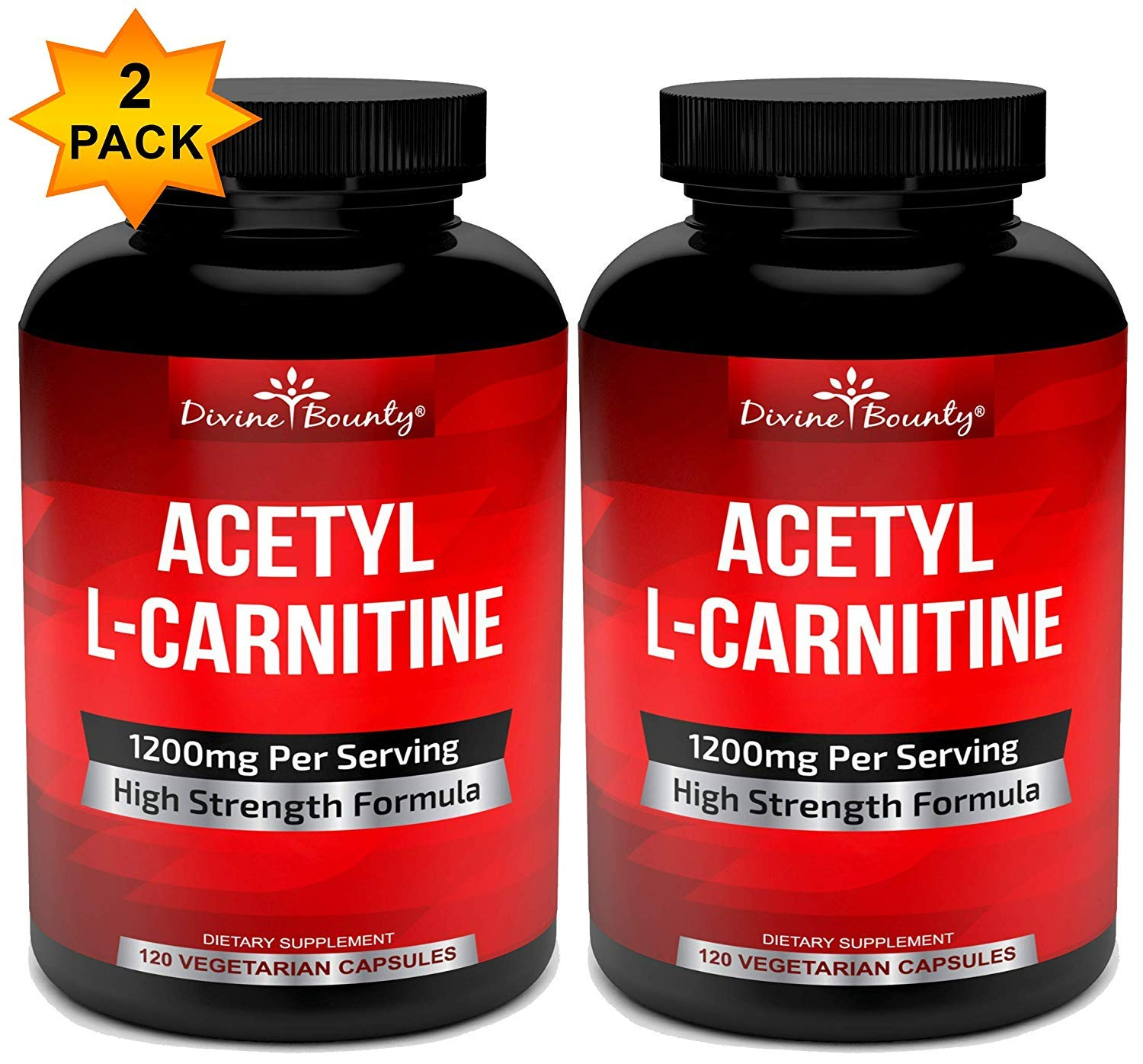 Vitamin Supplements Capsules Multi-Pack - Acetyl L Carnitine - Pack of 2 Bottles