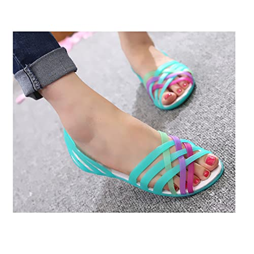 e55e75b13 Good-memories Summer Women Shoes Peep Toe Strappy Beach Valentine Rainbow  Croc Jelly Shoes Women