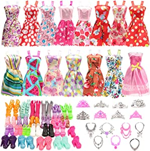 BARWA 32 pcs Doll Clothes and Accessories 10 pcs Party Dresses 22 pcs Shoes, Crown, Necklace Accessories for 11.5 inch Doll