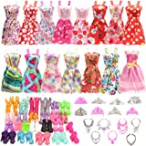 BARWA 32 pcs Doll Clothes and Accessories 10 pcs Party Dresses 22 pcs Shoes, Crown, Necklace Accessories for 11.5 inch…