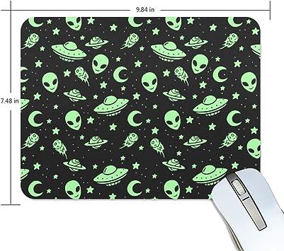 FANTAZIO Alfombrilla de ratón verde Alien OVNI Moon gruesa ...