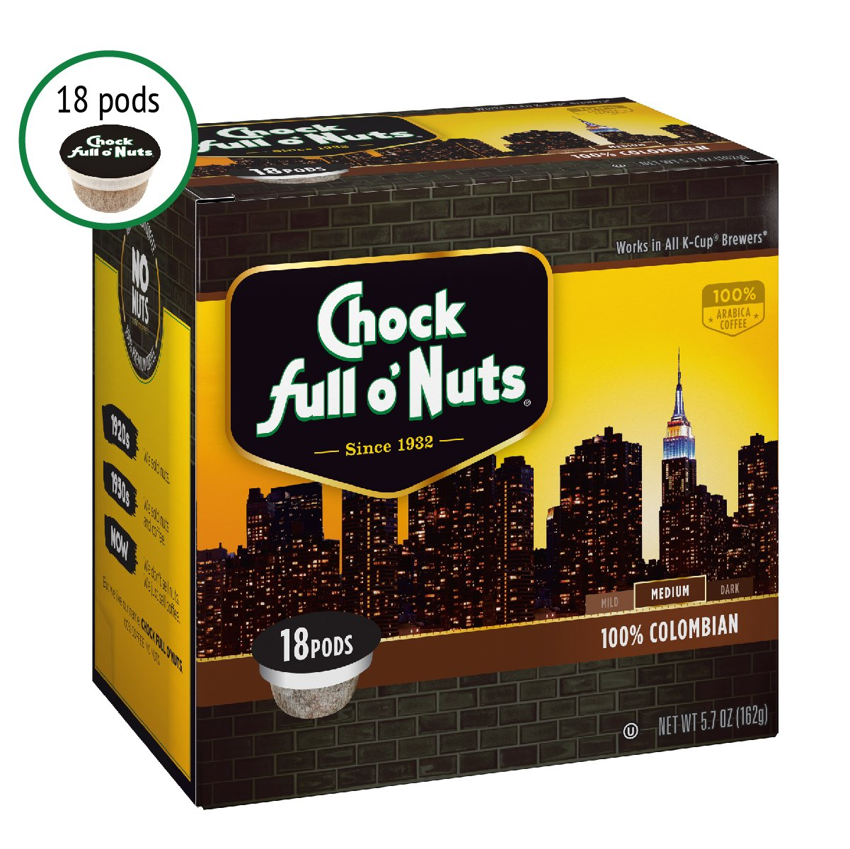 Chock Full o'Nuts Single-Serve Coffee Pods, 100% Colombian Medium Roast - Premium Arabica Coffee - Compatible with Keurig K-Cup Brewers (18 Count)