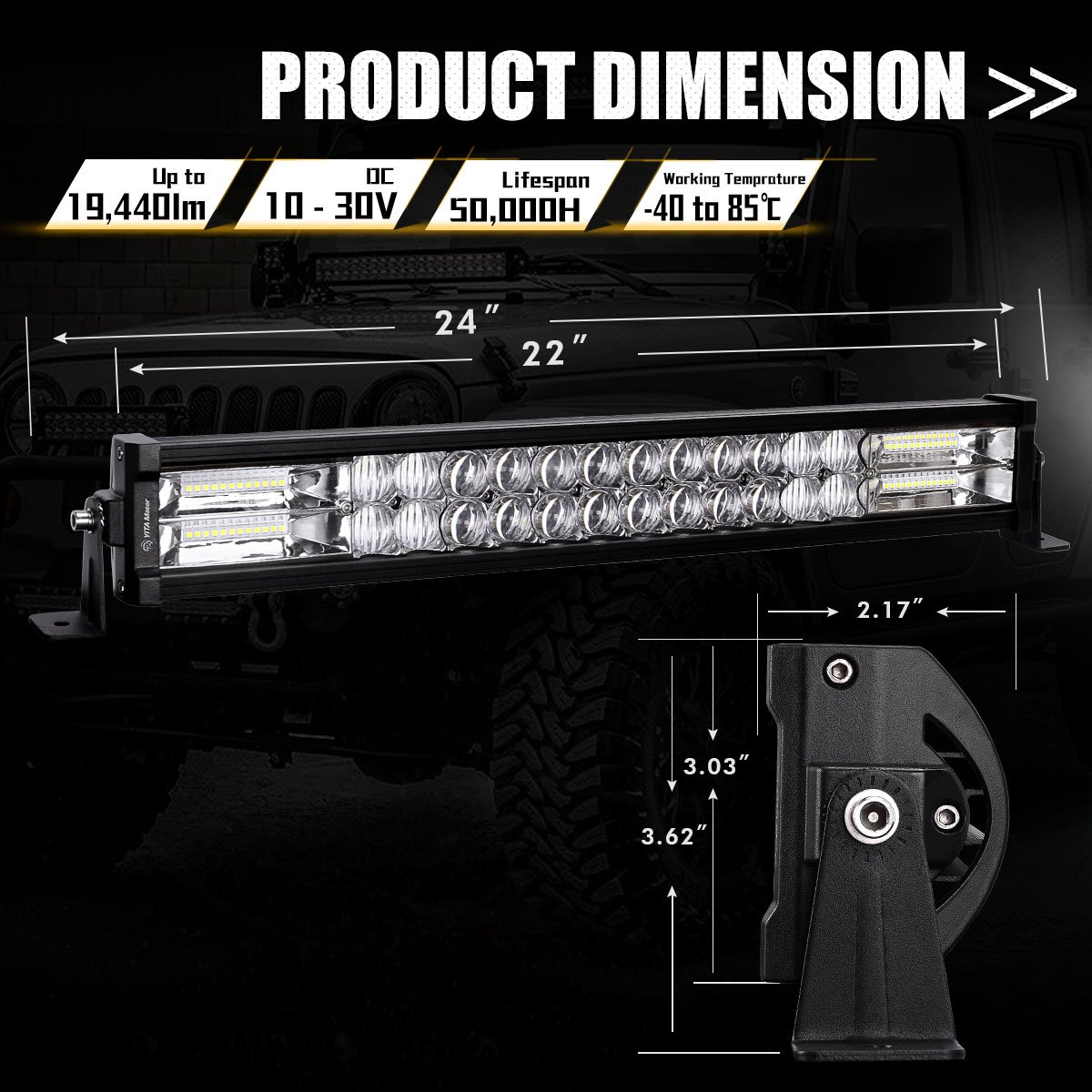 Led Light Bar Yitamotor 22 Inch 216w Spot Flood Combo Additionally Wiring Harness On Kc Lights Kit Pod Work 5d Lens With Off Road Driving