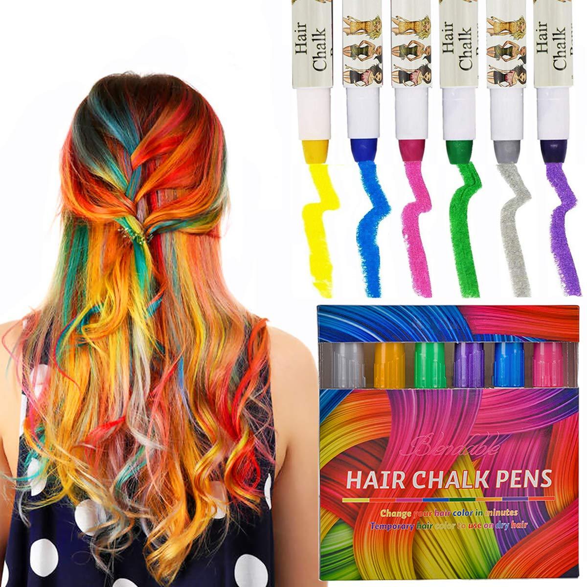 Hair Chalk Set, Kyerivs 6 Color Metallic Glitter Temporary Hair ...