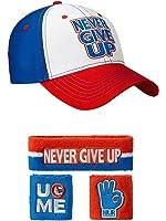 John Cena Red White Blue Never Give Up Baseball Hat Headband Wristband Set