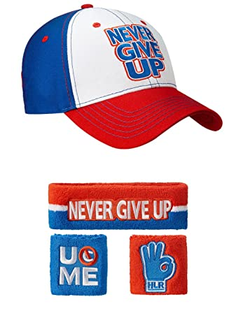 john cena baseball hat throwback wwe red white blue never give up headband wristband set