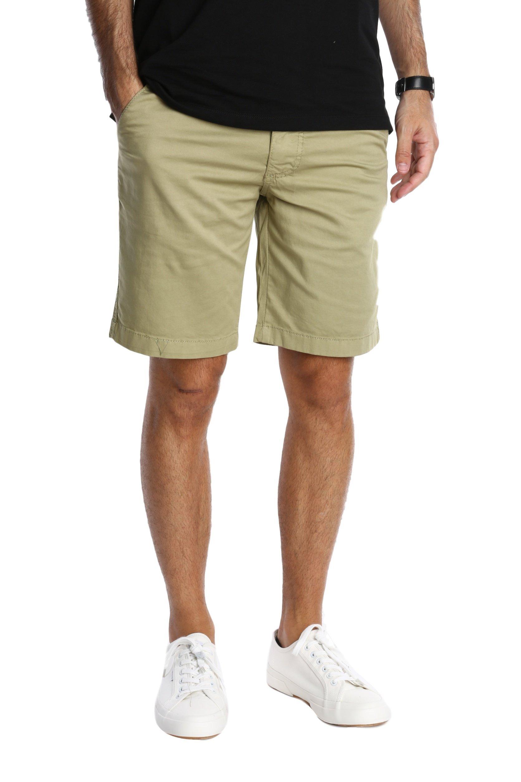 Pembrook Men's Casual Shorts n Shorts - 34 Khaki - Flat Front Classic Fit