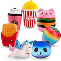 R.HORSE Cute Unicorn, Hamburger, Popcorn Set Kawaii Cream Scented Squishy Soft Decompression Squeeze Toys for Kids or Stress Relief Toy Hop Props, Decorative Props Large (7 Pack)