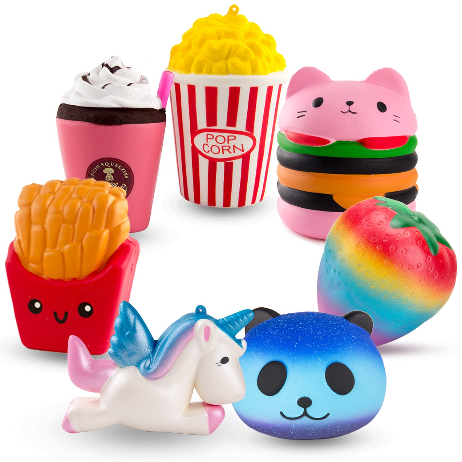 R.HORSE Cute Unicorn, Hamburger, Popcorn Set Kawaii Cream Scented Squishies Slow Rising Decompression Squeeze Toys for Kids or Stress Relief Toy Hop Props, Decorative Props Large (7 Pack)