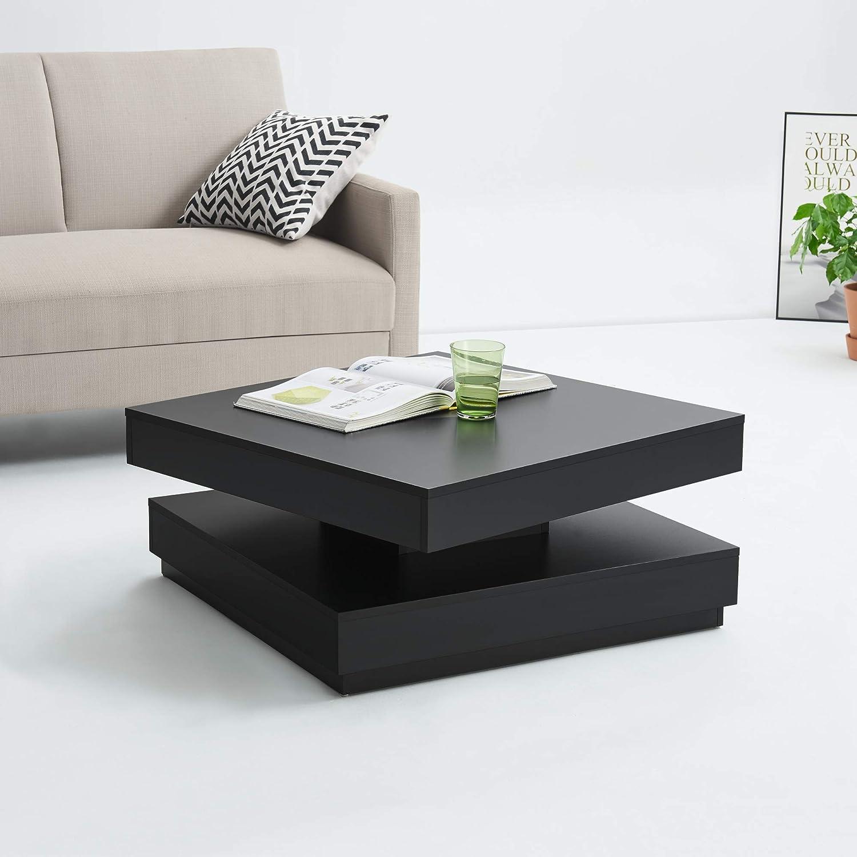 en.casa Bianco Tavolino da caff/è con Piano Girevole 76 x 76 x 38 cm Tavolino da Salotto con 1 Ripiano Tavolino Basso