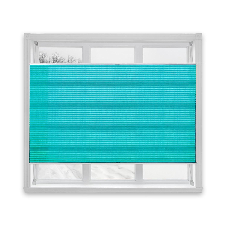 casa pura® Semi-Translucent Pleated Blind, Plissee Magic - Turquoise, 100 x 200 cm | 8 Sizes Available