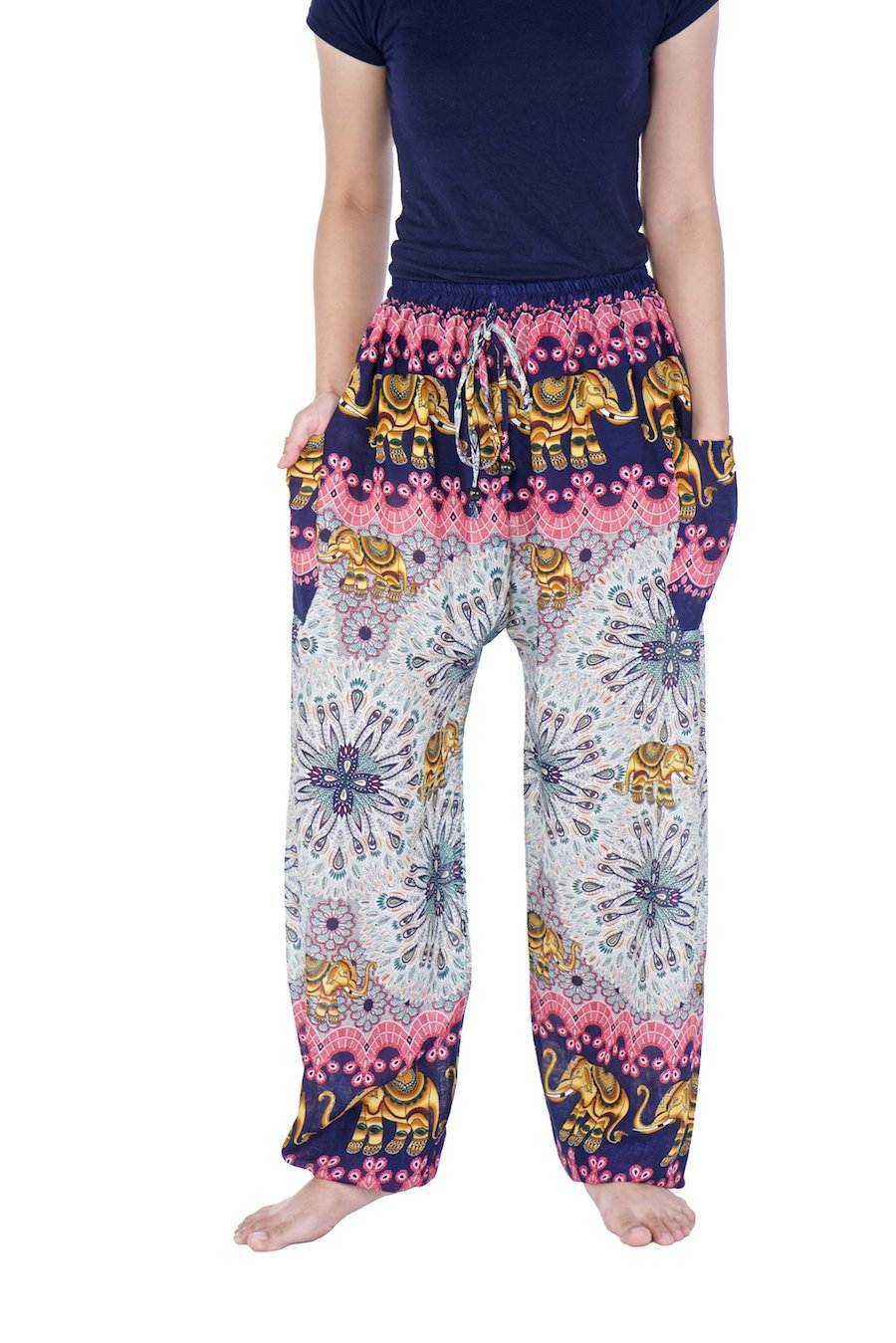 Lannaclothesdesign Drawstring Harem Pants S M L XL XXL Sizes Hippie Lounge Trousers (M, Dark Blue Elephant Mandala)