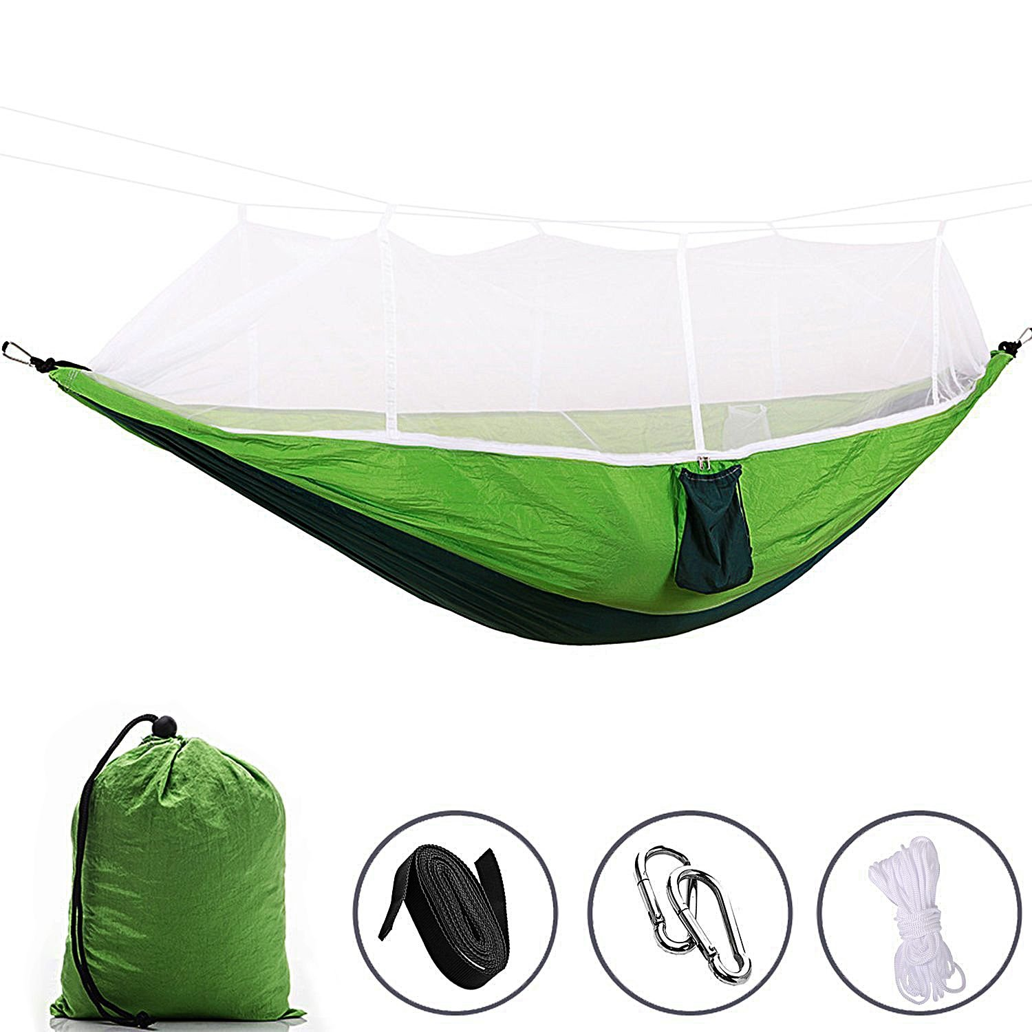 YUZHISEN Double Hammock with Mosquito Net 440 Pounds Capacity Sturdy & Lightweight for Outdoor Backpacking Camping Trip Hiking Indoor Garden Yard (Dark Green)