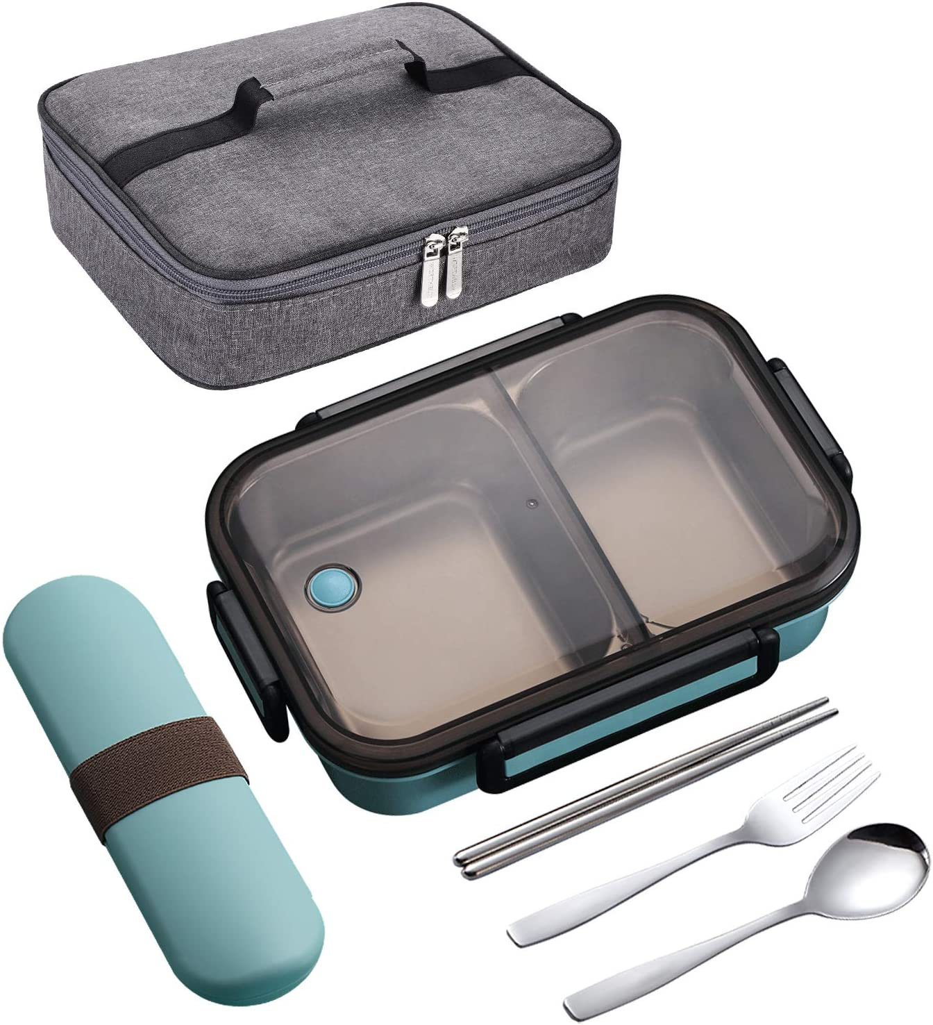 YBOBK HOME Leak Proof Bento Box, 2 Compartments Stainless Steel Lunch Box with Insulated Lunch Bag and Portable Utensil Set, Portion Control Lunch Container, On-the-Go Meal Fruit Snack Packing (Blue)