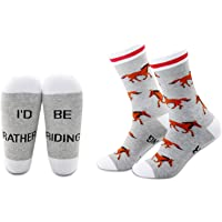 MBMSO 2 Pairs Horse Socks I'd rather be Riding Socks Equestrian Socks Horse Gifts for Horse Lovers