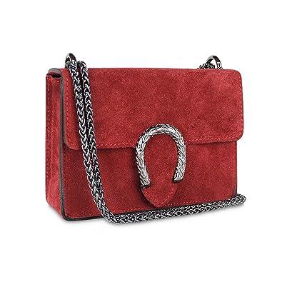 9b82756f546ea Gloop Damen Clutch echt Leder Tasche Abendtasche mit Kette Handtasche Made  in Italy Rot