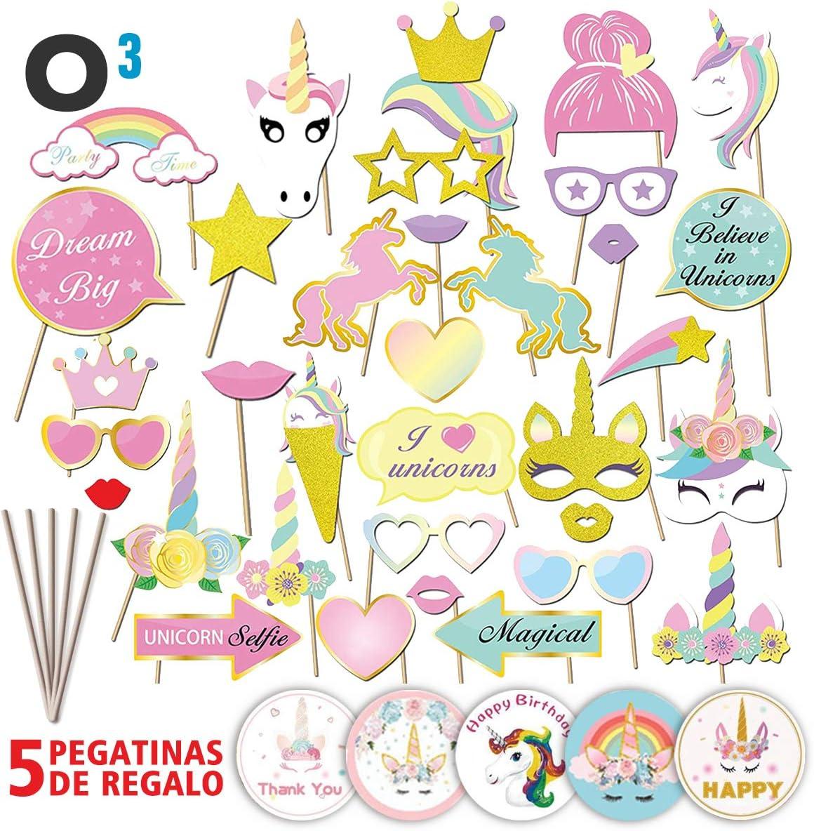 O³ Photocall Cumpleaños 35 Piezas con 5 Pegatinas   Photocall Unicornio - Fotocall DIY Máscaras   Photocall Comunion Regalo Divertido para Niños   Cumpleaños Infantiles Decoracion -Fotos Inolvidables