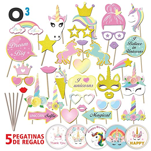 O³ Photocall Cumpleaños 35 Piezas con 5 Pegatinas | Photocall Unicornio - Fotocall DIY Máscaras | Photocall Comunion Regalo Divertido para Niños | ...