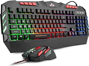 Rii RGB LED Backlight Wired Gaming Keyboard and Mouse Combo,PC Gaming Keyboard RK900+ for Windows/Android/Mac/Xbox/PC/Laptop/Andriod TV Box/HTPC