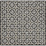 Safavieh Four Seasons Collection FRS448A Hand-Hooked Black and Ivory Indoor/ Outdoor Square Area Rug (6' Square)