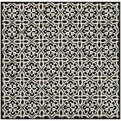 Safavieh Four Seasons Collection FRS448A Hand-Hooked Black and Ivory Indoor/ Outdoor Square Area Rug (6' Square) by Safavieh