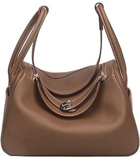 dde0067584 Ainifeel Women s Genuine Leather Top Handle Handbag Shopping Bag ...