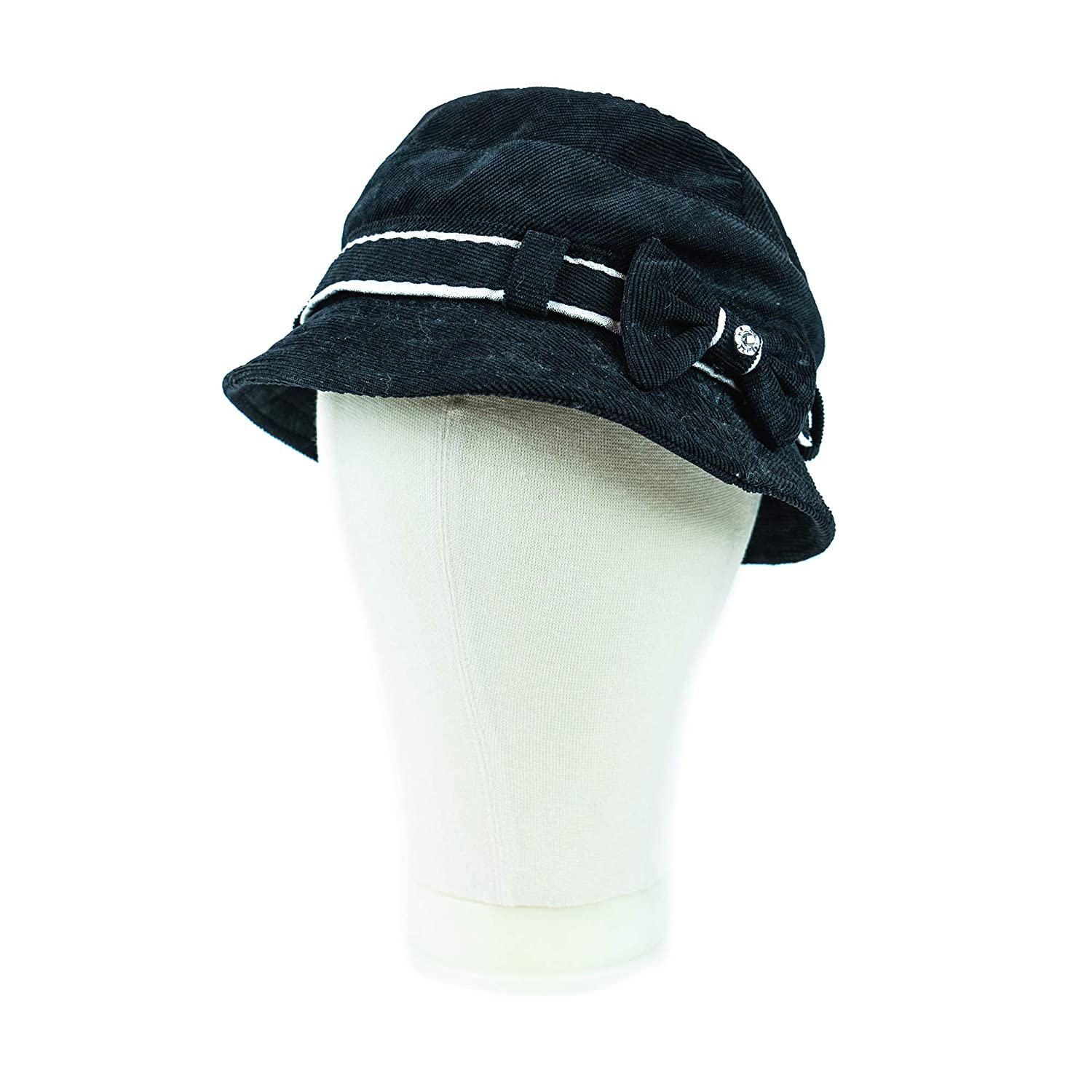 GS FASHION Solid Color Navy Winter Hat Corduroy Cloche Bucket with Bow Accent