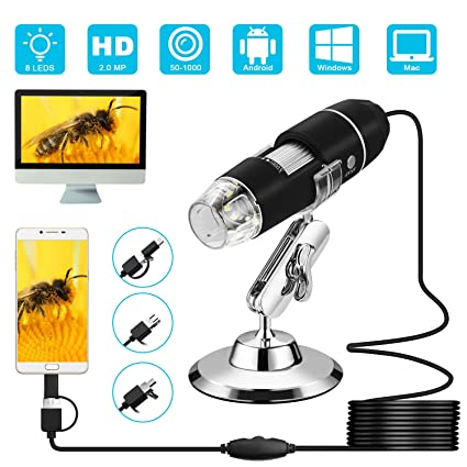 XHtrade Portable 1000x 8 leds USB Digital Microscope Magnification with Stand,USB Endoscope Inspection Camera--with OTG Cable for Phone