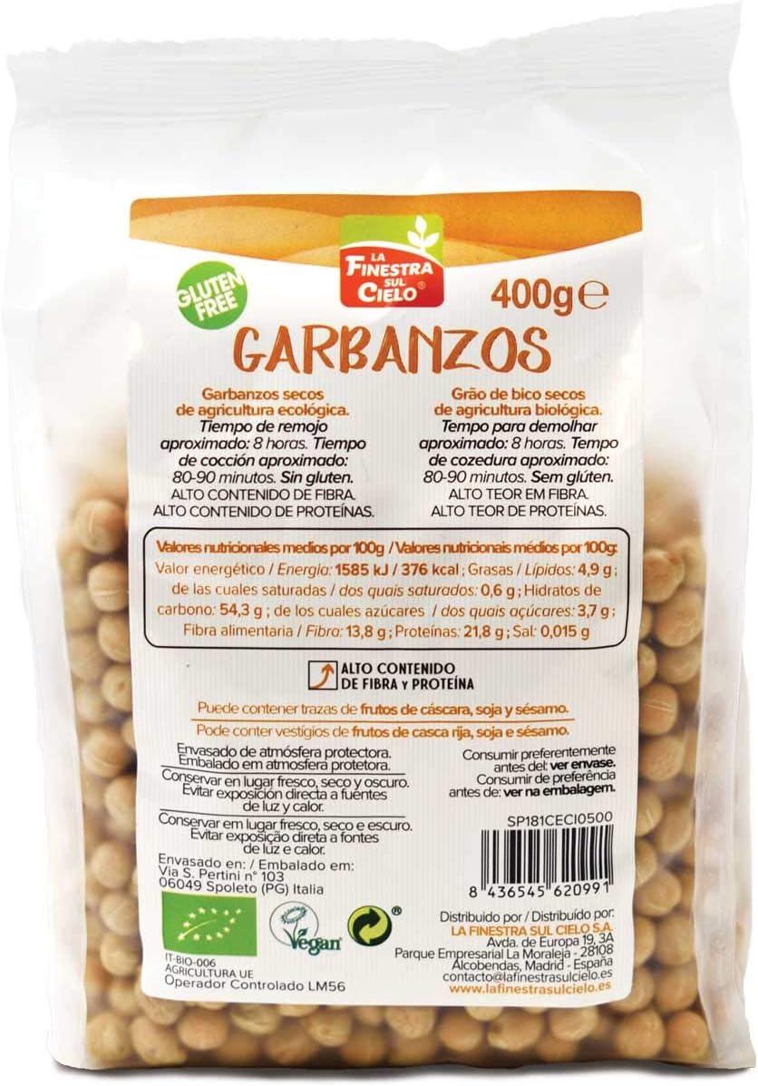 Garbanzos BIO gluten free envase compostable - La Finestra sul Cielo - 400gr (cja 6 uds) Total: 2400g: Amazon.es: Alimentación y bebidas